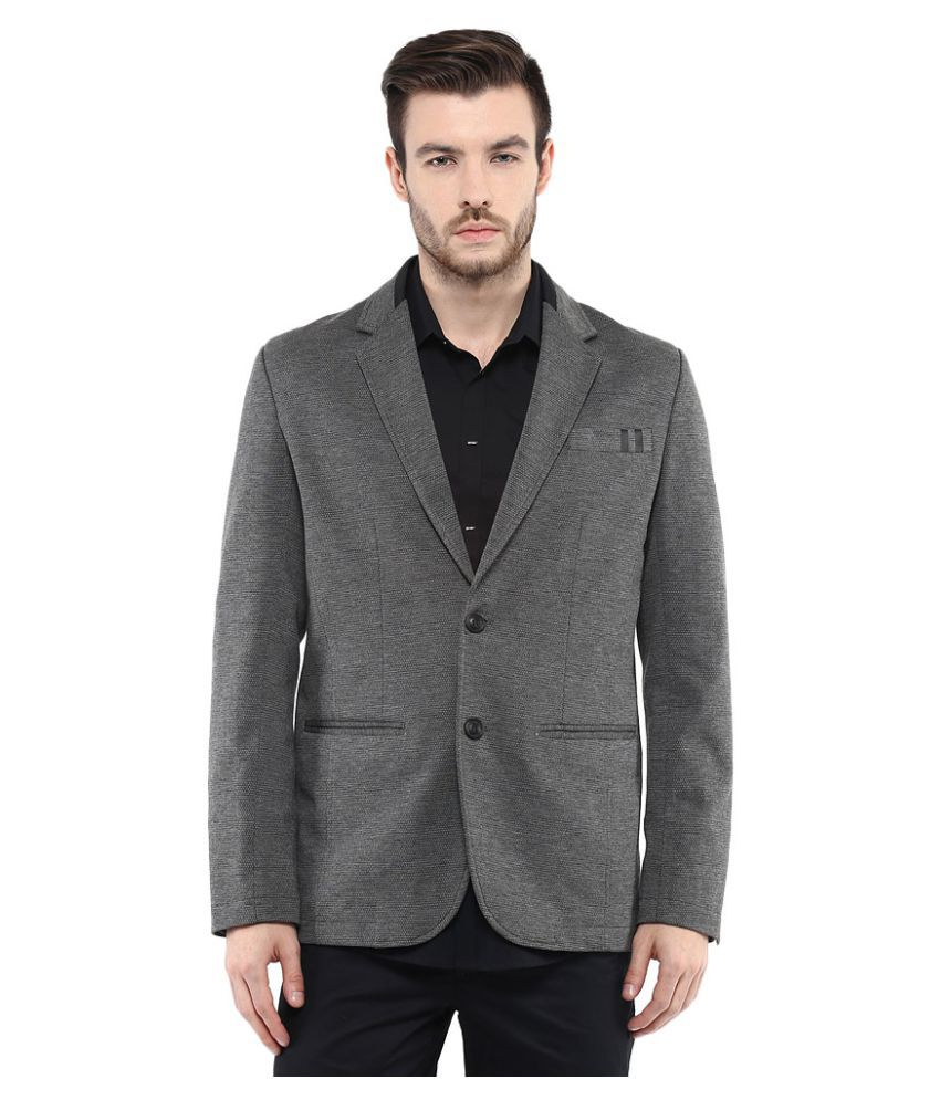 Mufti Grey Solid Casual Blazers