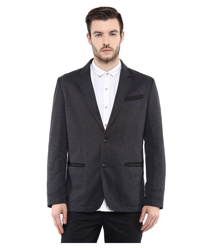Mufti Grey Solid Formal Blazers