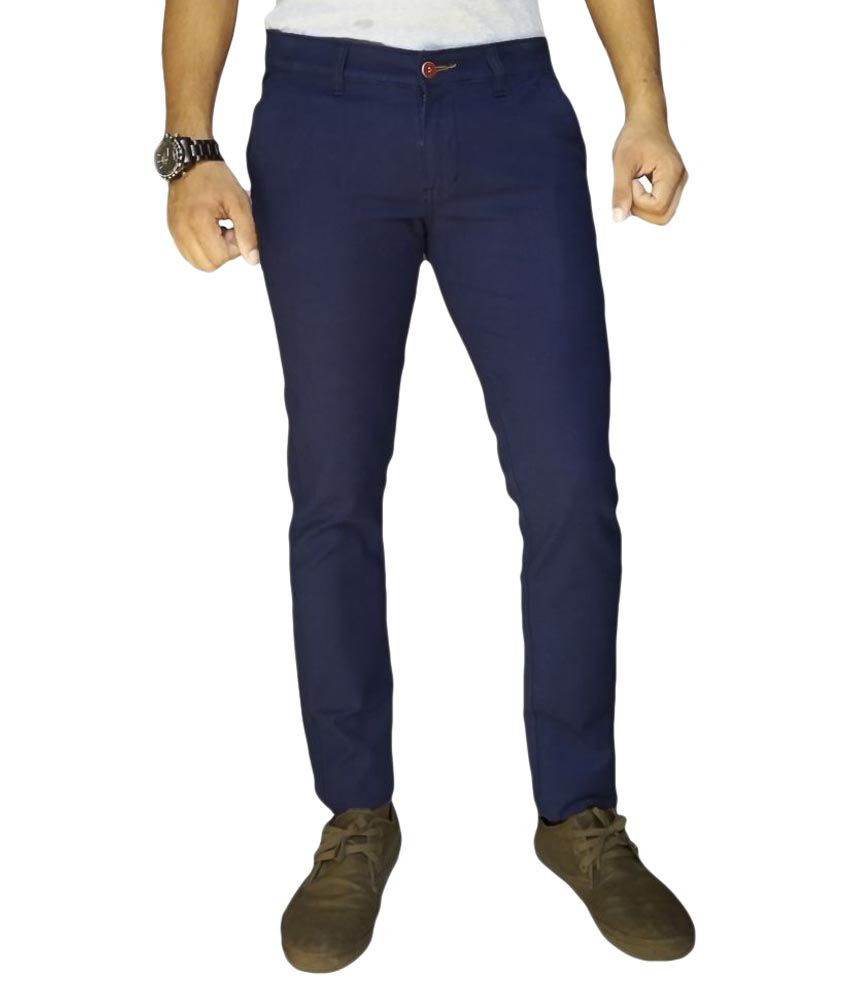 Oiin Navy Blue Slim Flat Trouser