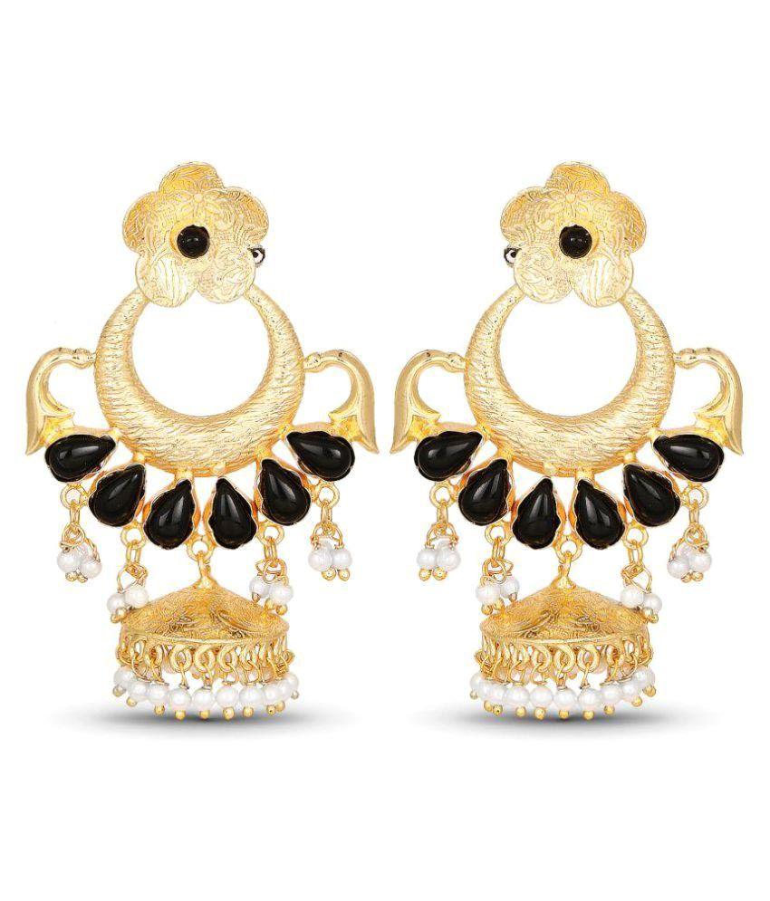 Johareez Designer Gold Plated Temple Jhumki Earrings For Women