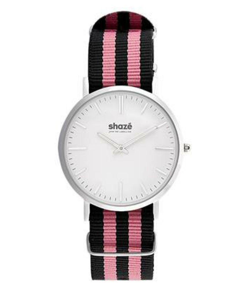 Shaze Sins Classic Black And Pink Slim Watch