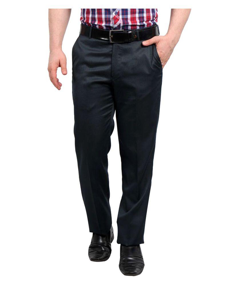 Solemio Navy Blue Slim Flat Trouser