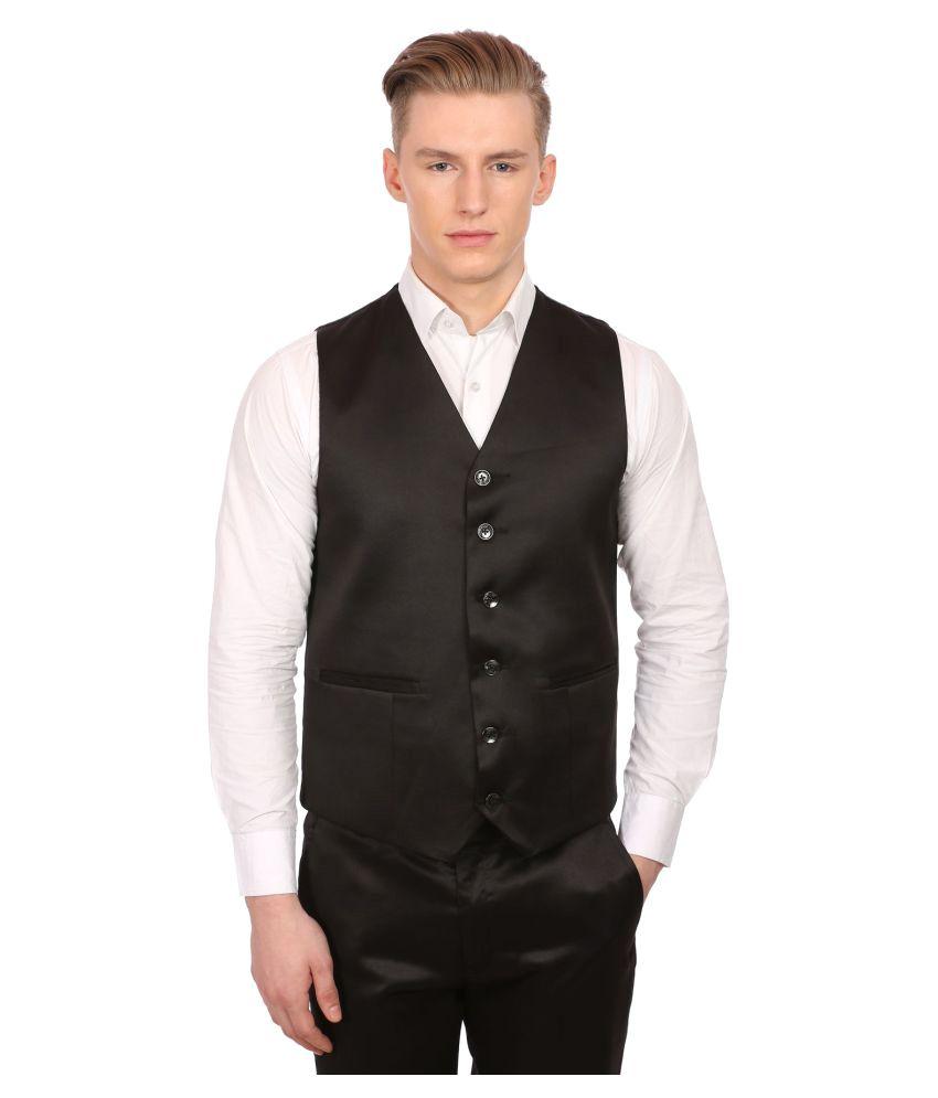 Wintage Black Solid Party Waistcoats No