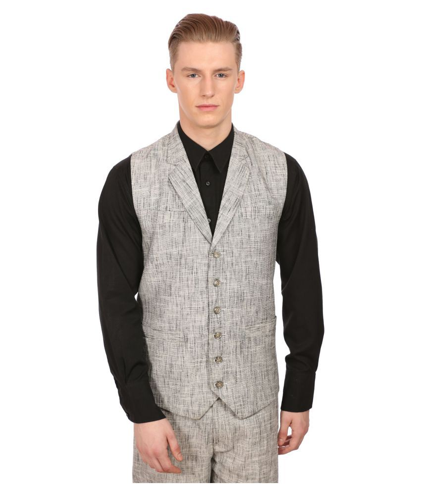 Wintage Grey Solid Party Waistcoats No