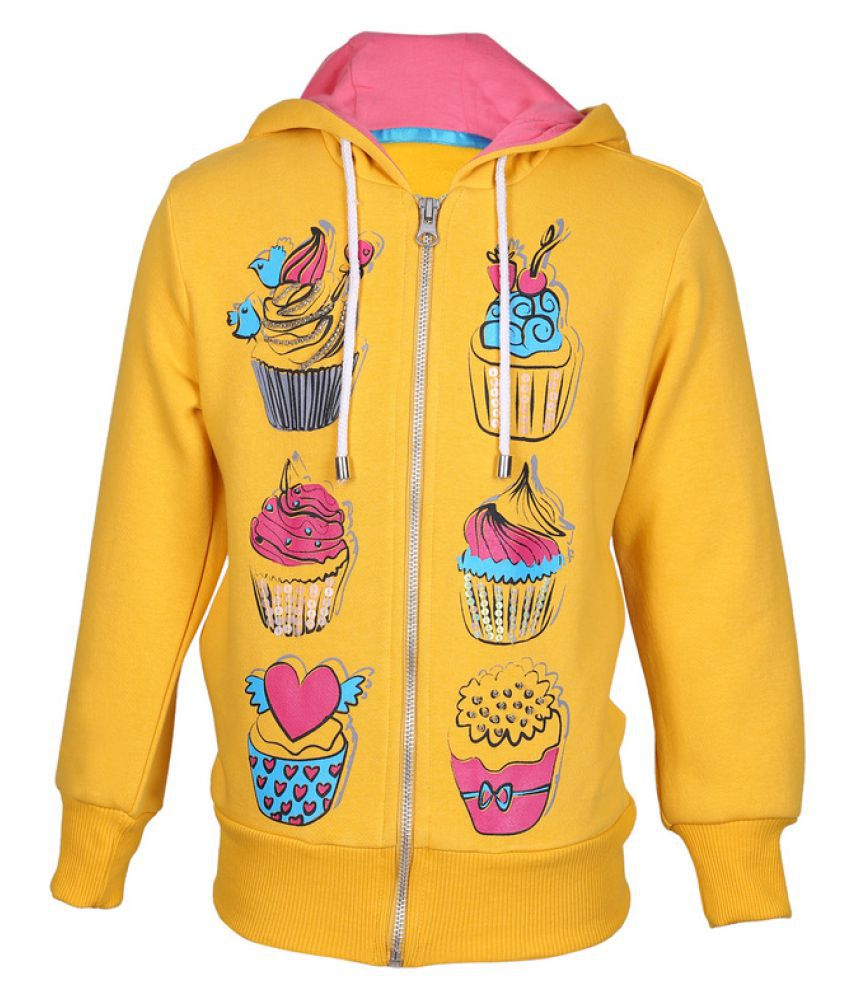 Cool Quotient Yellow Front Open Hooded Sweatshirt