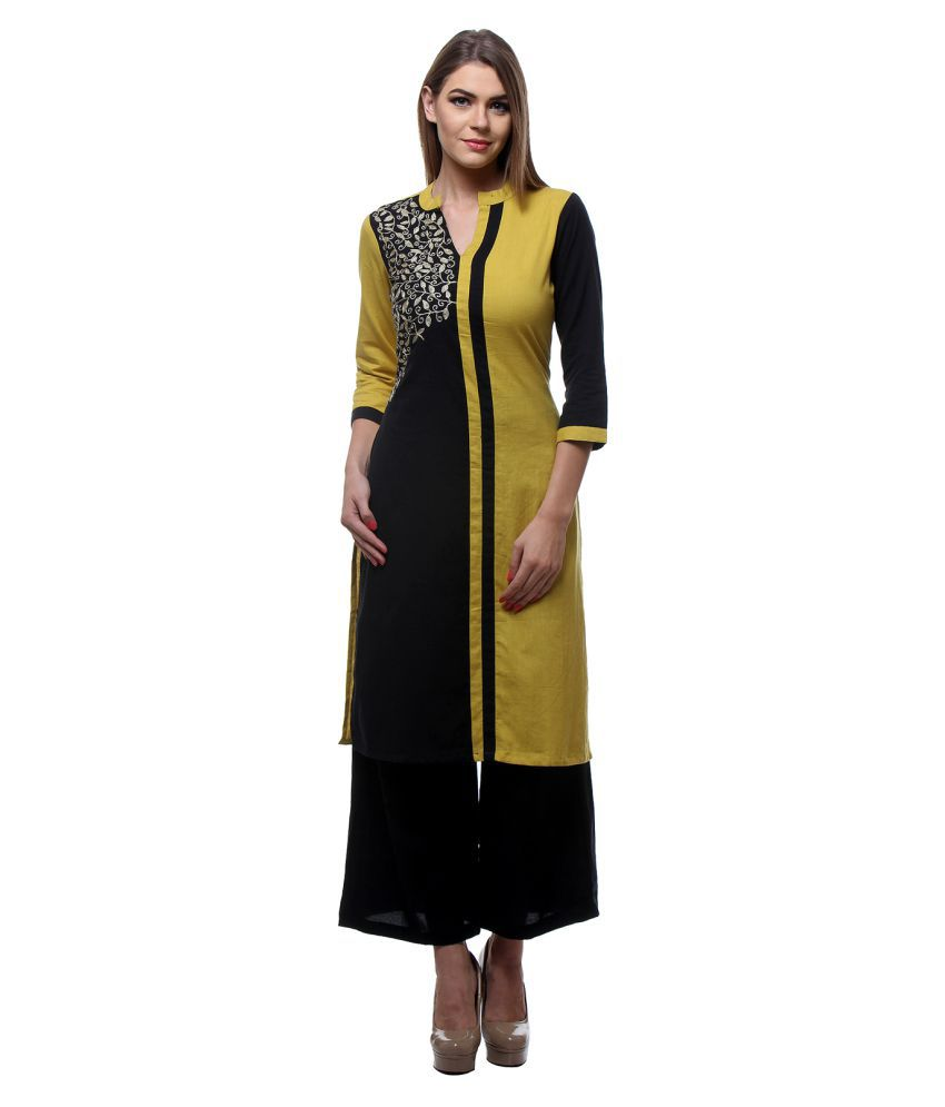 Fabgruh Multicoloured Cotton Straight Kurti