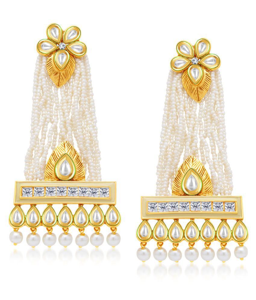 Sukkhi Fashionable Gold Plated Kundan Earrings For Women