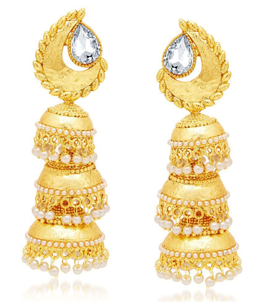 Sukkhi Golden Pretty Gold Plated AD Jhumki Earrings for Women