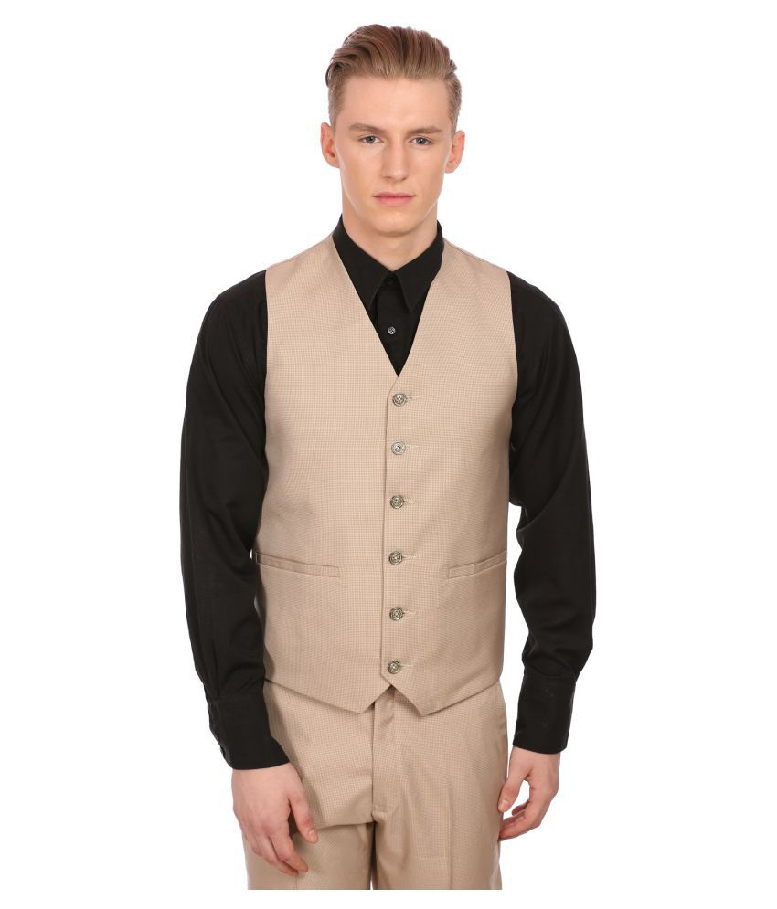 Wintage Beige Checks Party Waistcoats