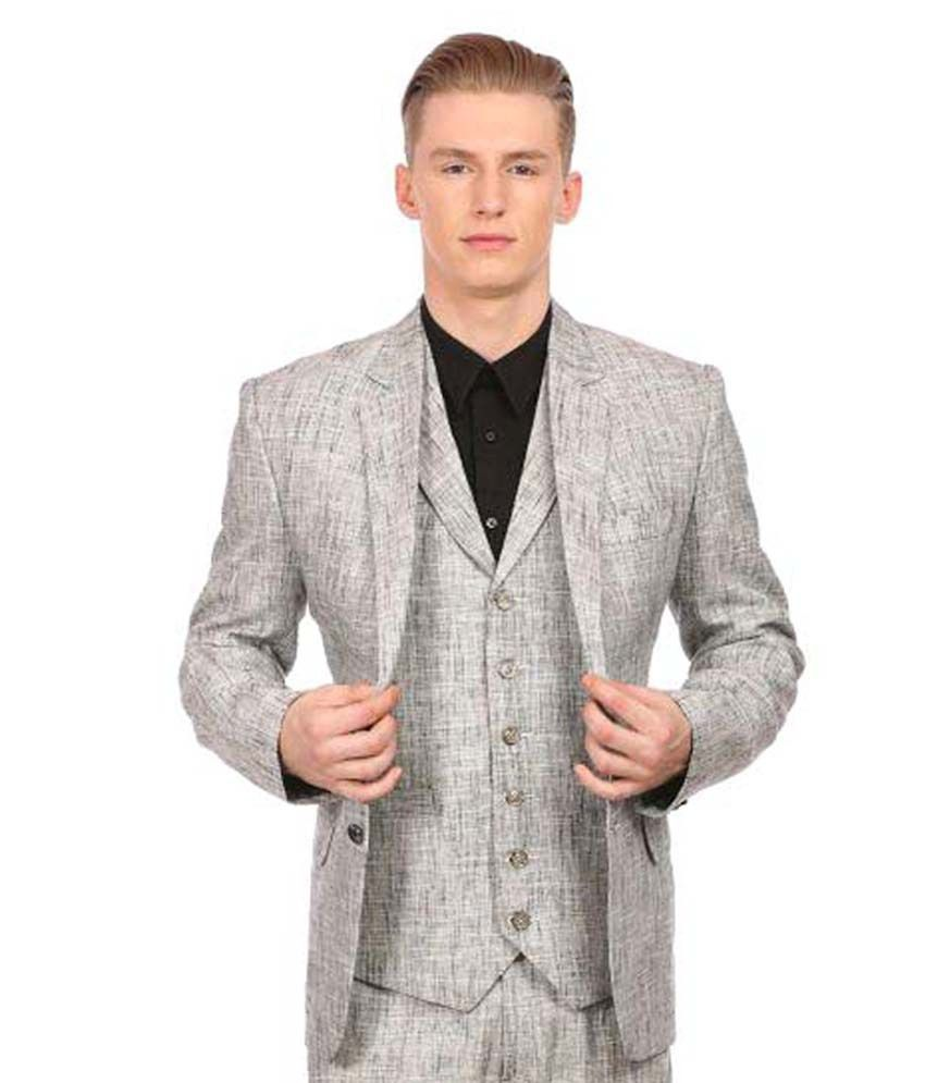 Wintage Silver Solid Party 3 Piece Suits No