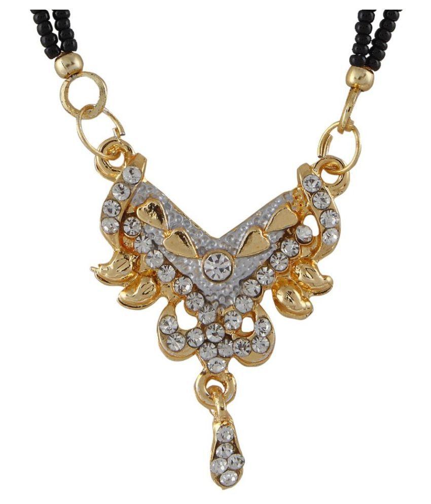 9blings Decent Cubic Zirconia 2 Line Black Beads Gold Plated Zinc Alloy Mangalsutra