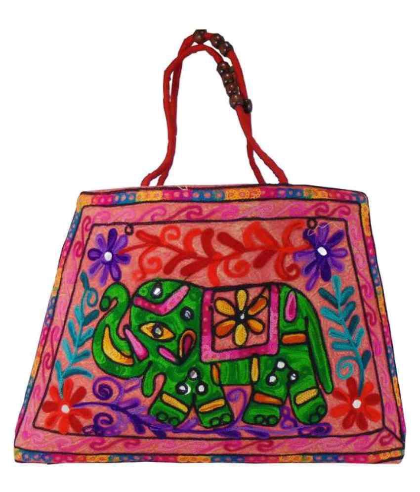 Shree Ganpati Plaza Fabric Multi Color Shopping Bag