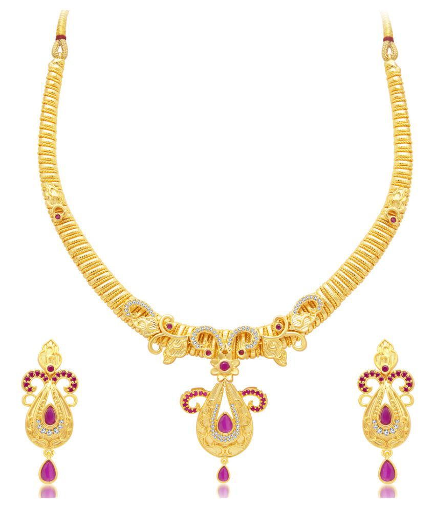 Sukkhi Modish Gold Plated AD Necklace Set For Women