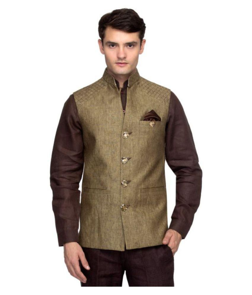Toxic River Brown Plain Party Waistcoats