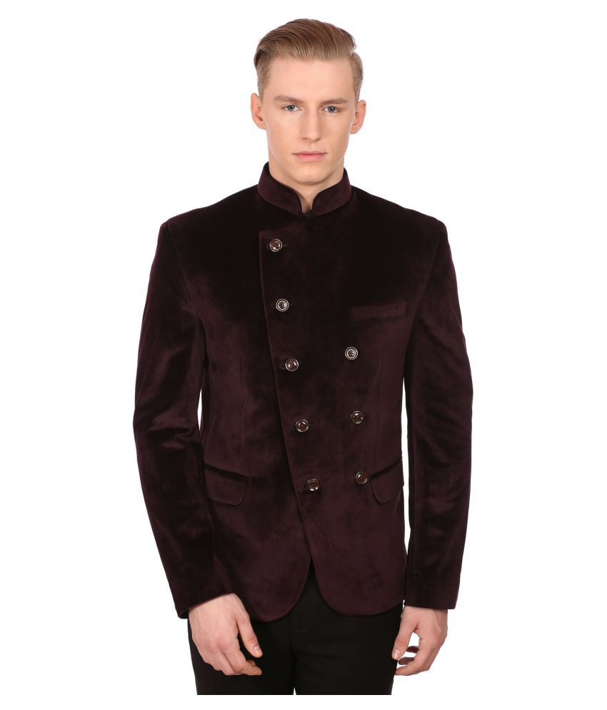 Wintage Maroon Solid Party Blazers