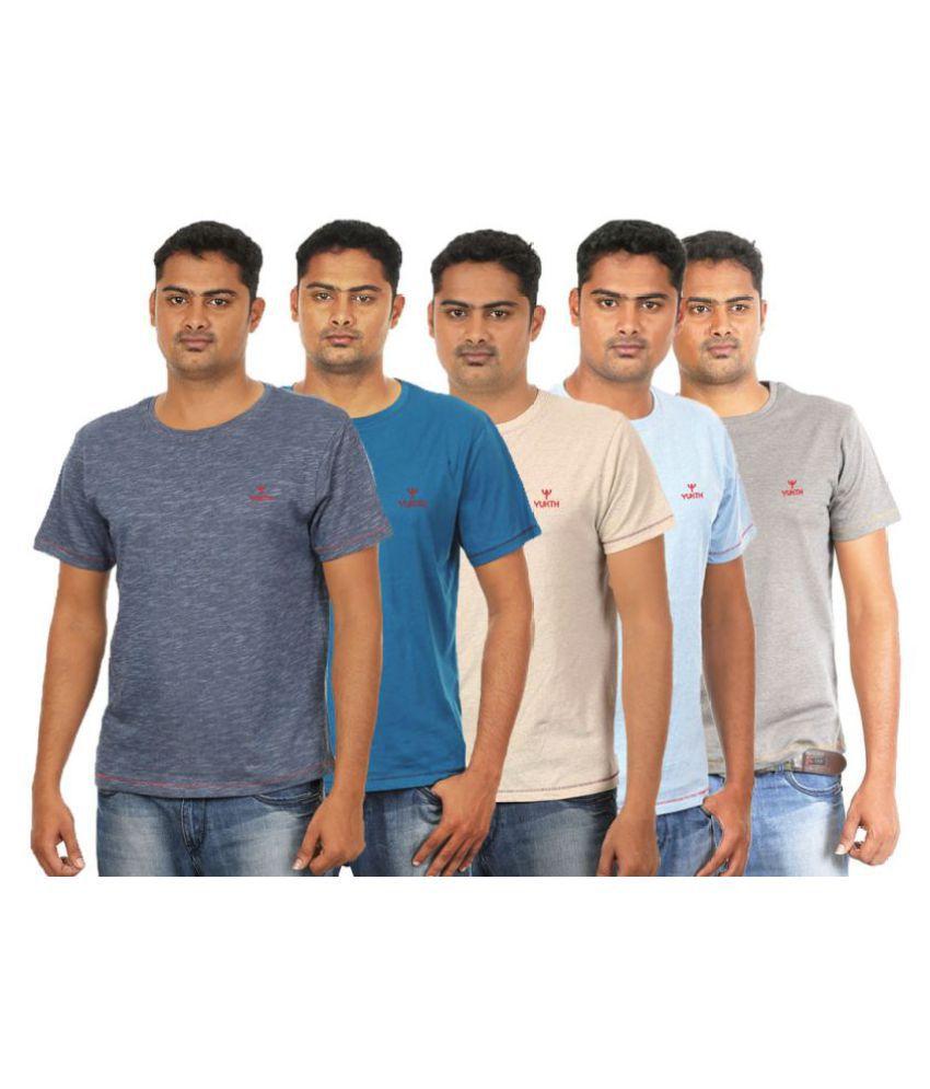 Yukth Multi Round T-Shirt Pack of 5