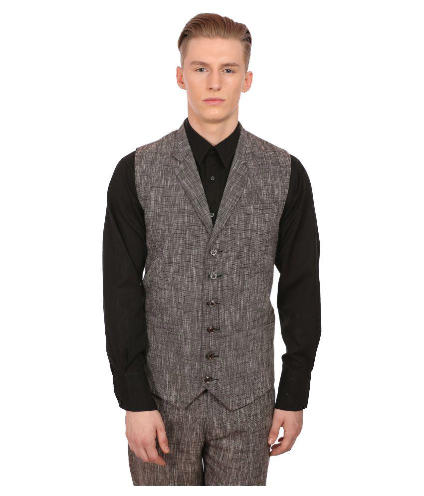 Wintage Grey Solid Party 3 Piece Suits