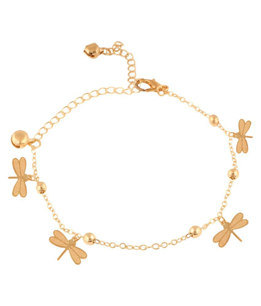 Jazz Jewellery Golden Alloy Anklets