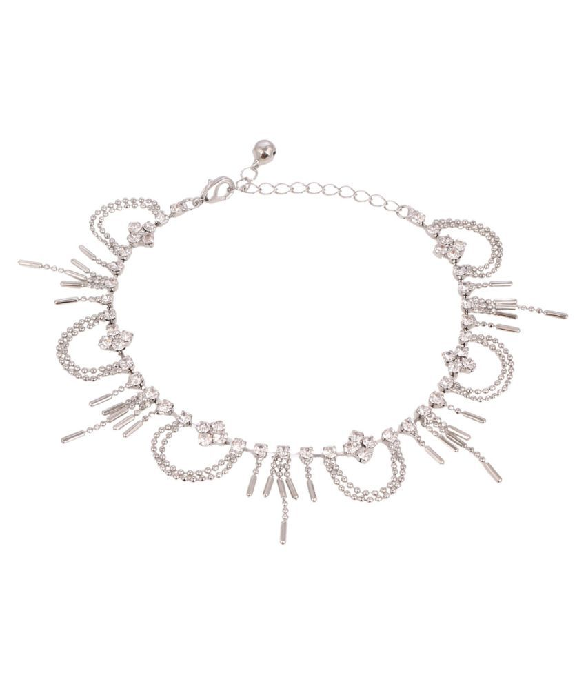 Jazz Jewellery Silver Alloy Anklet