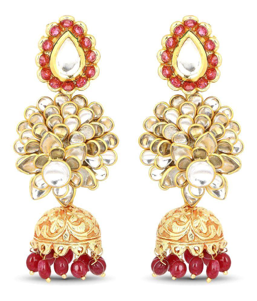 Johareez Multicolour Designer Gold Plated Multi Stone Temple Jhumki Earrings For Women