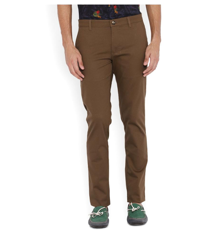 Parx Brown Regular Flat Trouser
