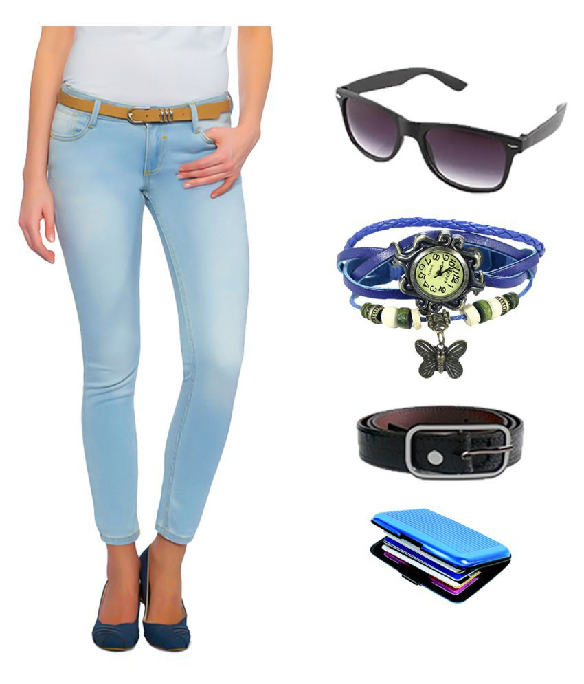 Fuego Lycra Jeans with Watch and Belt