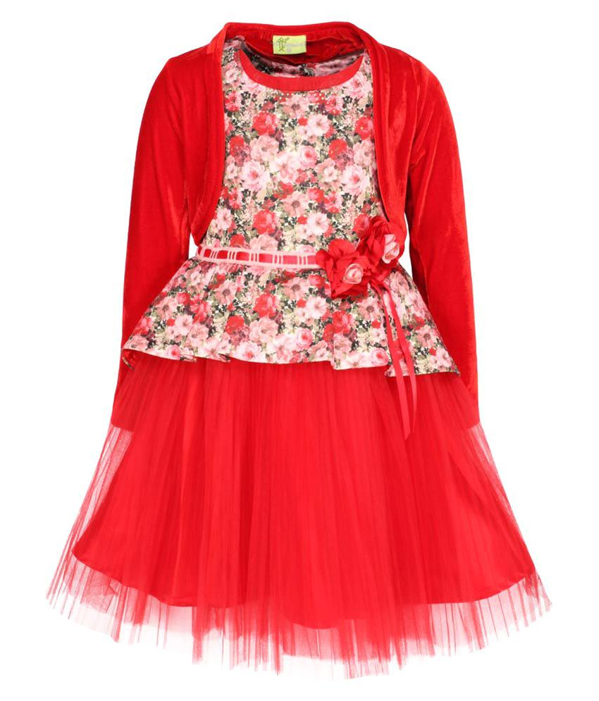 e54d3f72c5f Cutecumber Red Georgette Girl s Floral Printed Red Dress with Shrug - Buy  Cutecumber Red Georgette Girl s Floral Printed Red Dress with Shrug Online  at Low ...