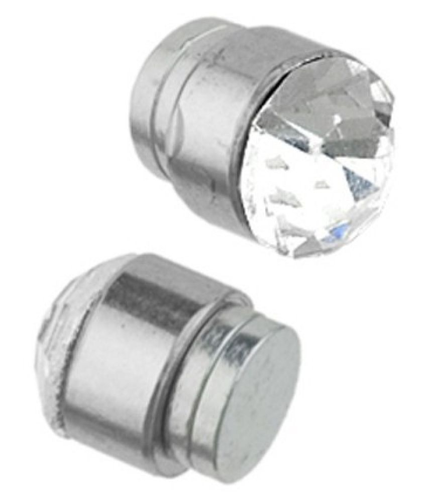 Earrings Men Boys Studs Silver Round Cz Magnetic Non Pierced