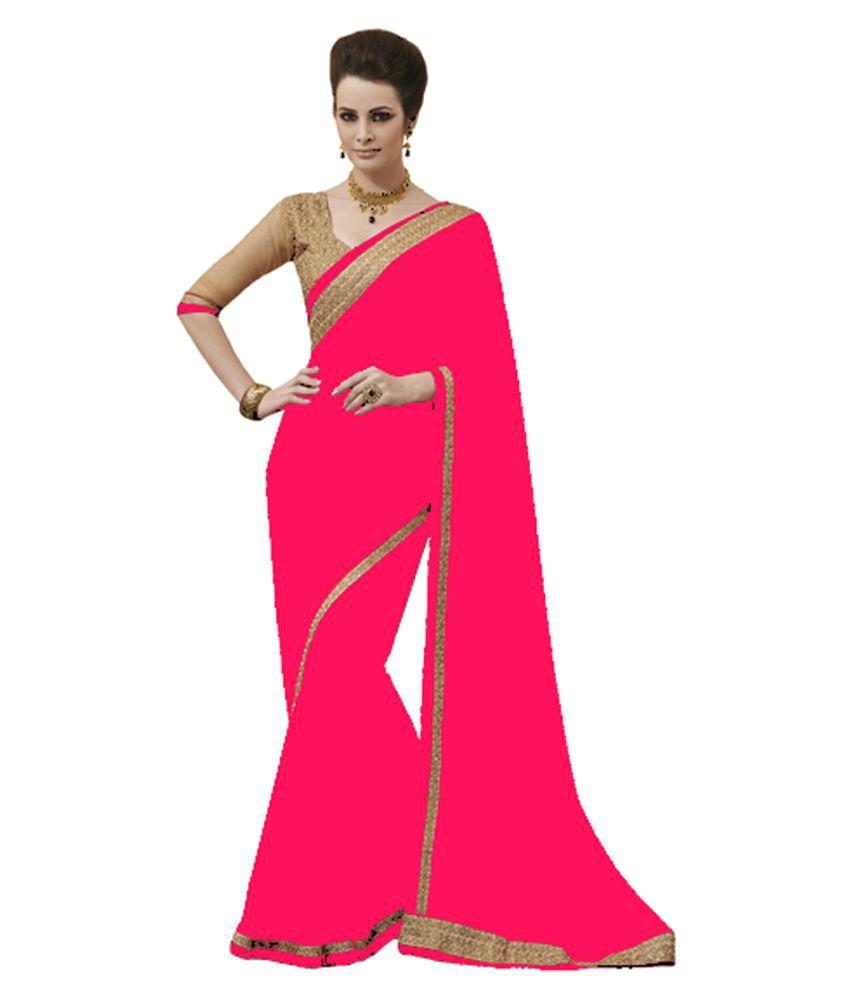 Silons Designer Pink Georgette Saree
