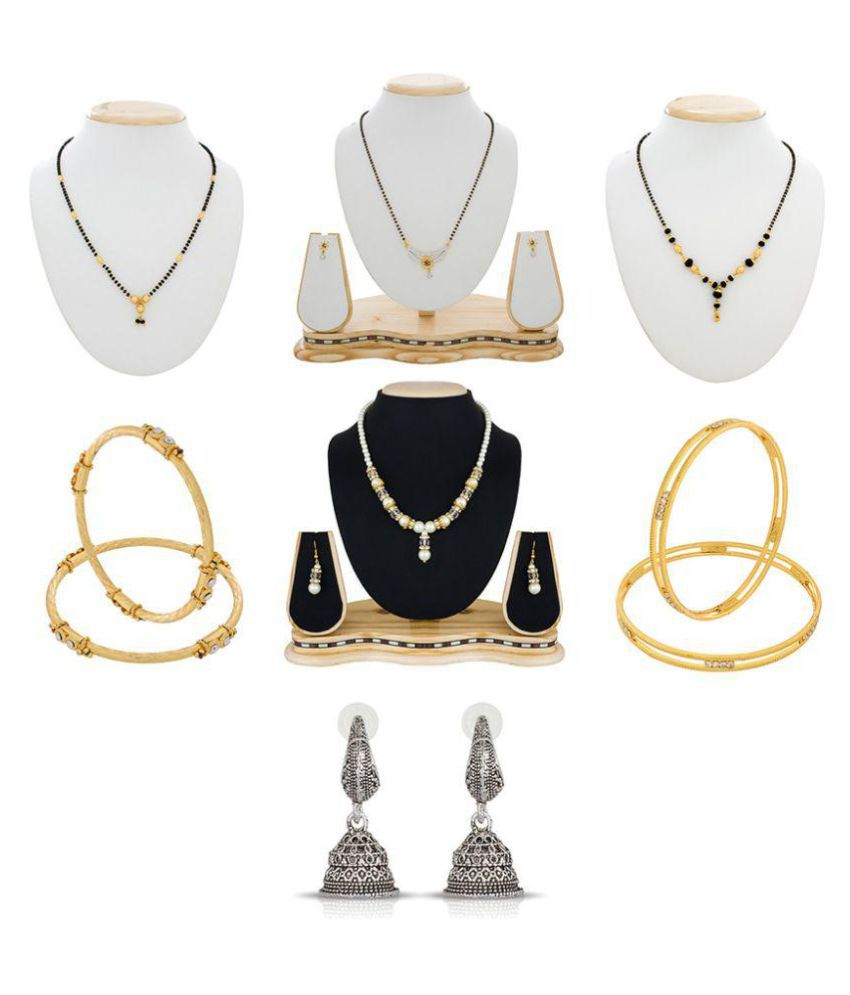 The Luxor Gold & Silver Plated Daily Wear Australian Diamond Studded Earrings, Bangles, Mangalsutra Set