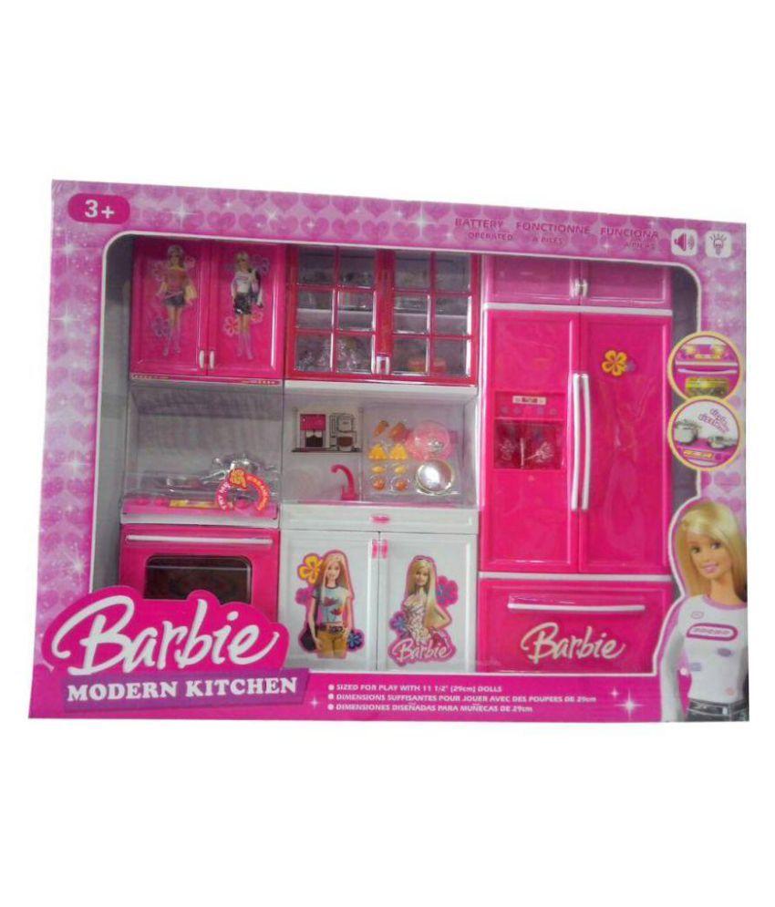Viru Barbie Kitchen Set Red Pink Buy Viru Barbie Kitchen Set