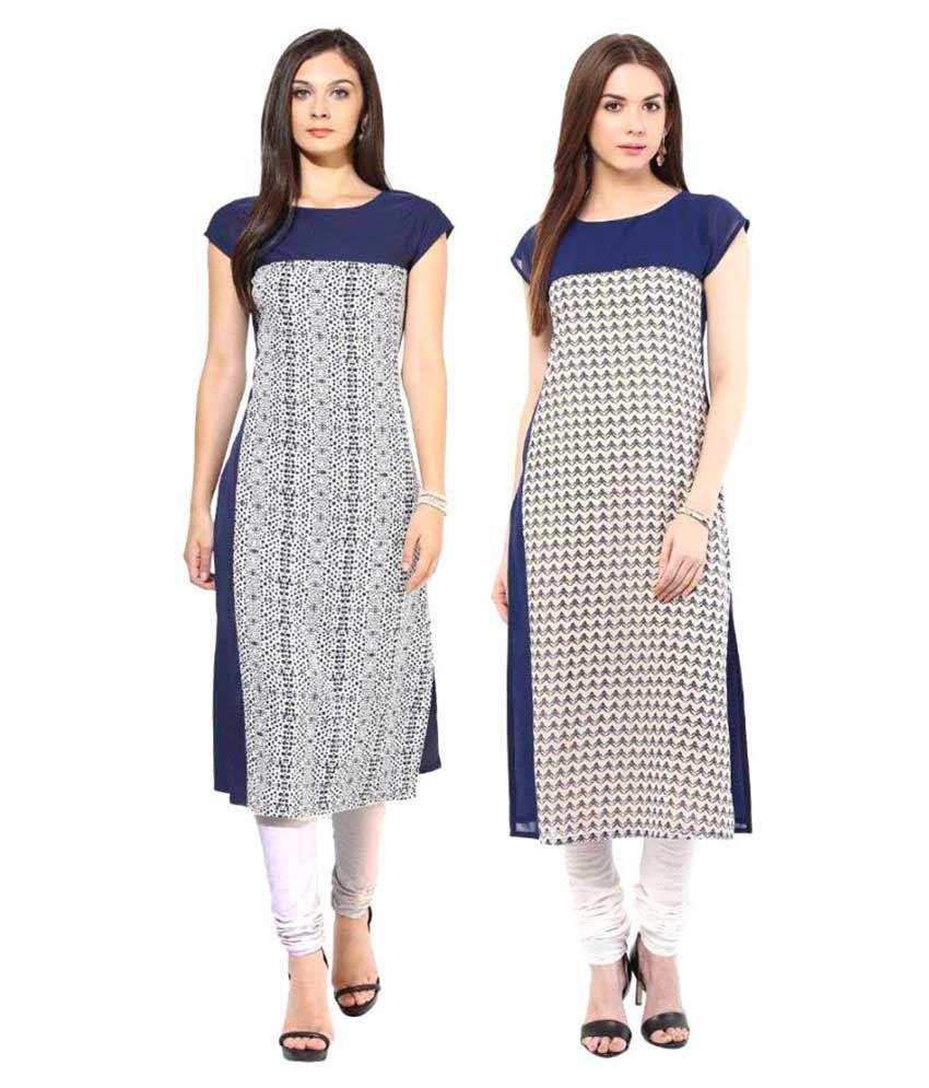 Khushi Fashions Blue Georgette Straight Kurti