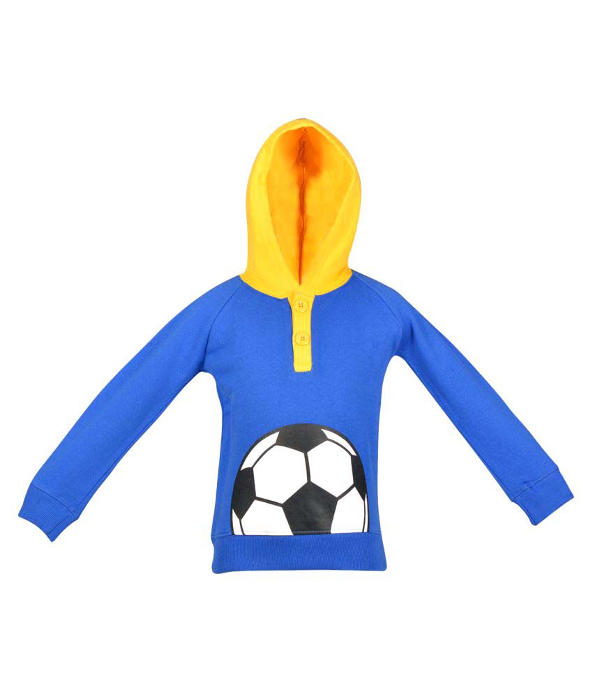 Gkidz Royel Blue Crew Neck Boys Full Sleeve Hooded Sweatshirt