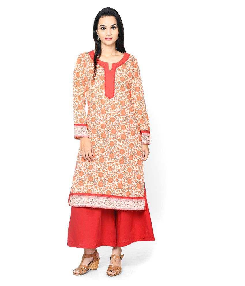 Rangriti Printed RED Cotton Kurta