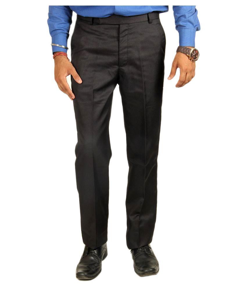 Van Galis Black Regular Flat Trouser