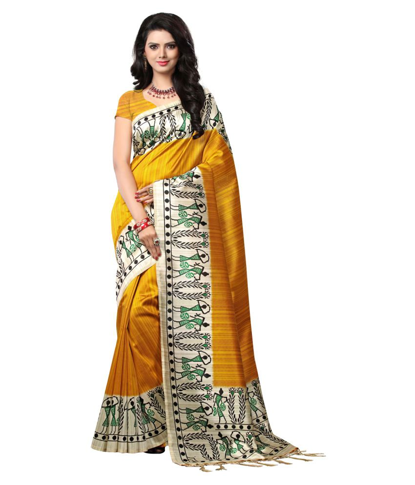 E-vastram Yellow Mysore Silk Saree