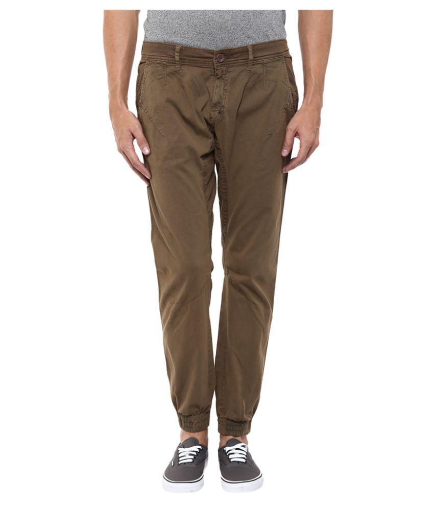 Mufti Brown Slim Flat Trouser