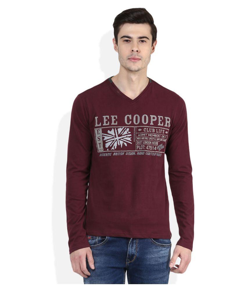 Lee Cooper Maroon V-Neck T-Shirt
