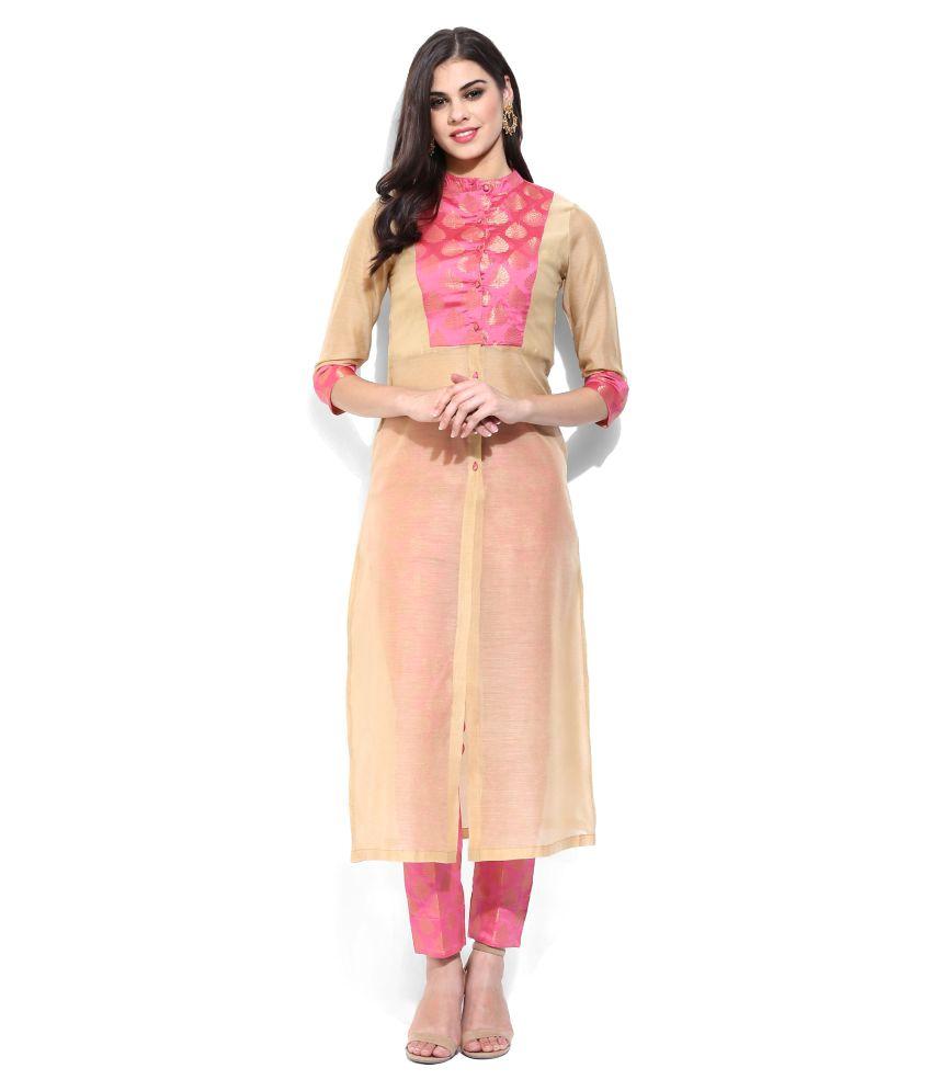 Sassafras Gold Chanderi Straight Stitched Suit