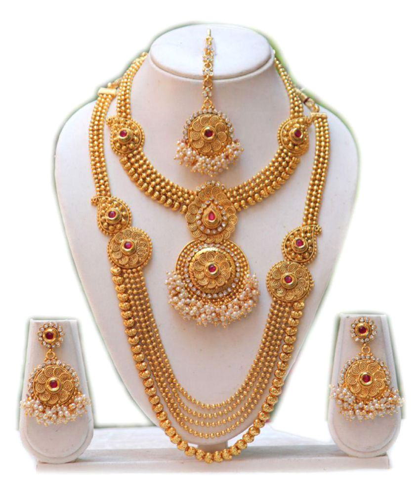 for peacock pearl collections set necklace jalebi sukkhi shimmering buy women online temple necklaces wdgrn plated gold