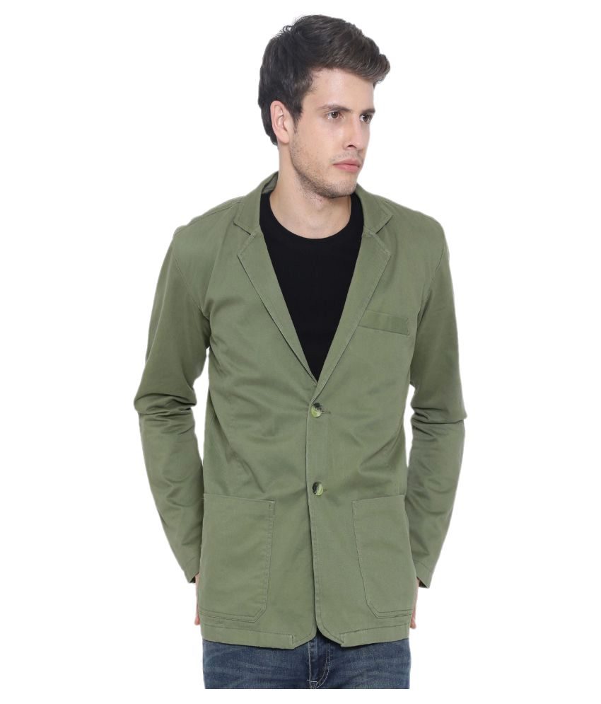 Fifty Two Green Solid Casual Blazers