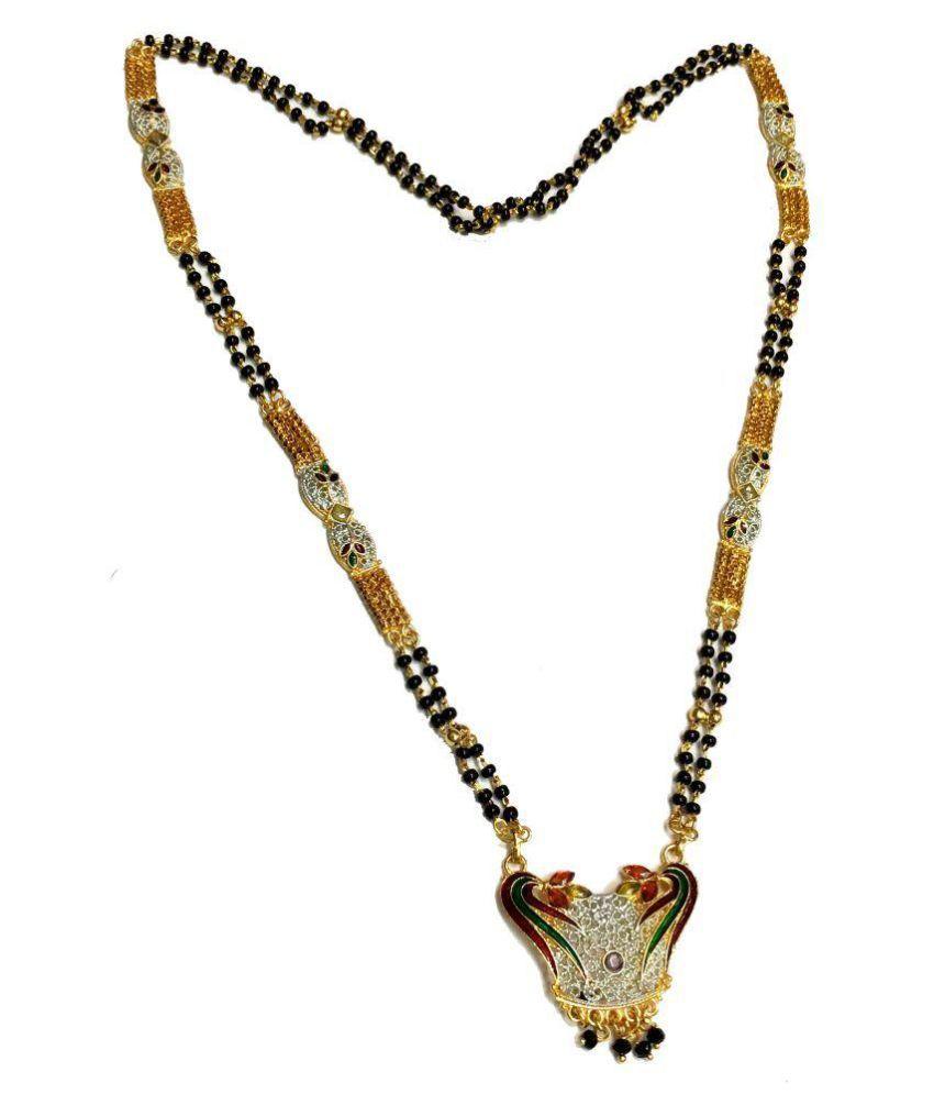 Jenil Golden Antique Rhodium Plated Mangalsutra