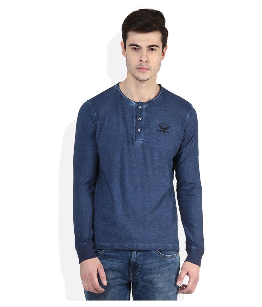Lee Cooper Blue Henley T-Shirt