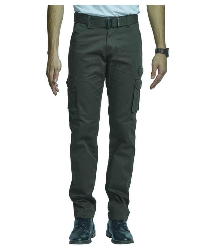 Beevee Olive Green Regular Flat Trouser