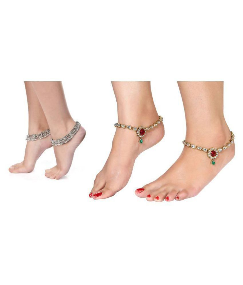 Charms Multicolour Alloy Anklet - Pair of 2