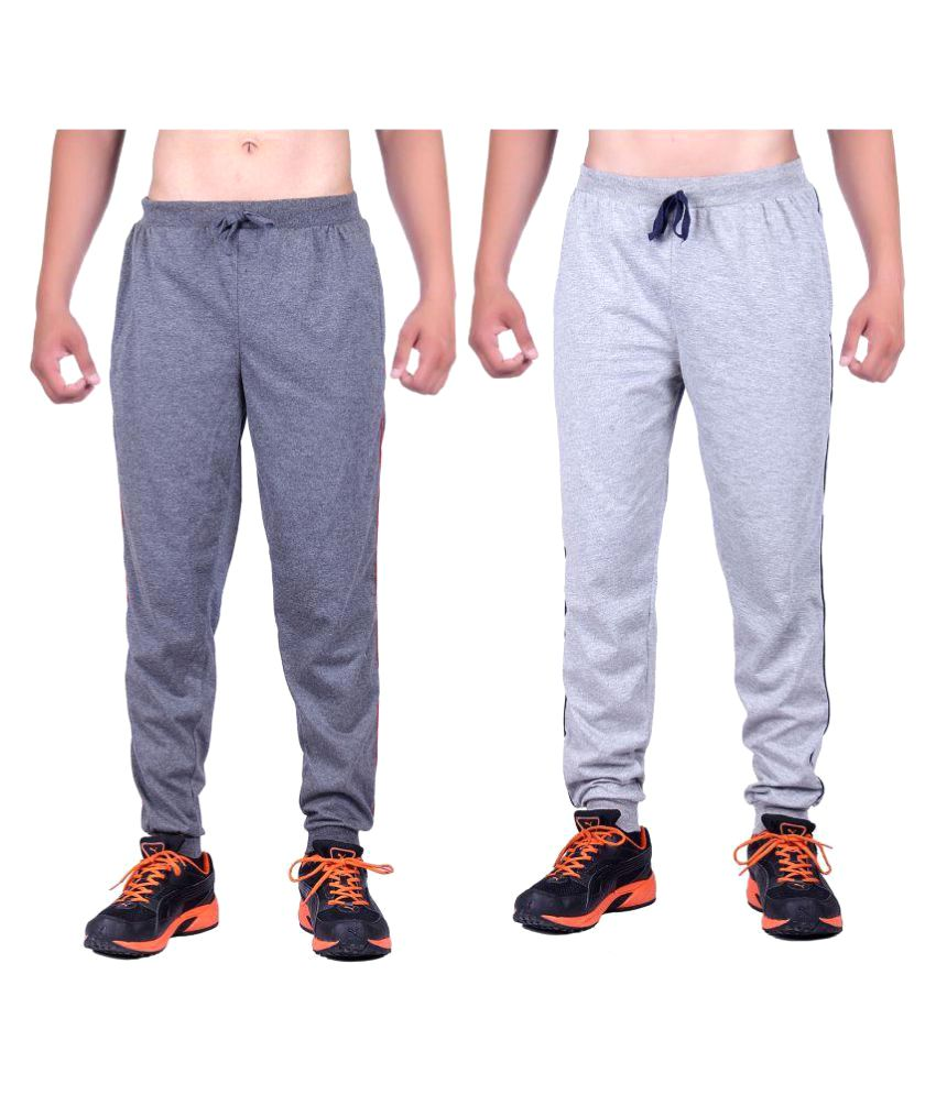 DFH Grey Cotton Trackpants Pack Of 2