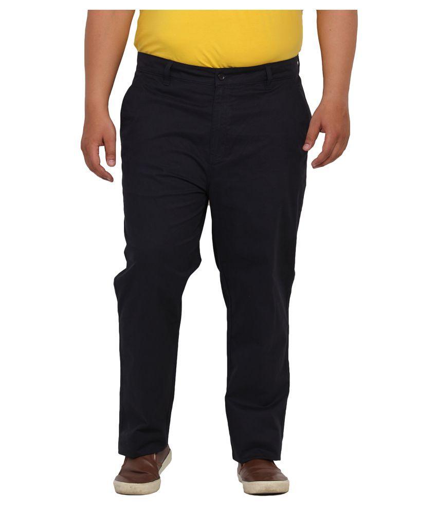 John Pride Black Regular Flat Trouser
