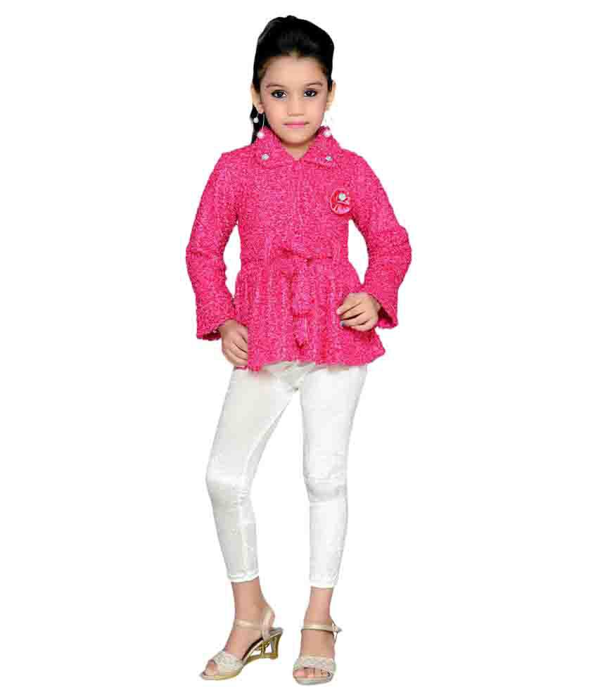 Aarika Pink Woolen Jackets with Leggings