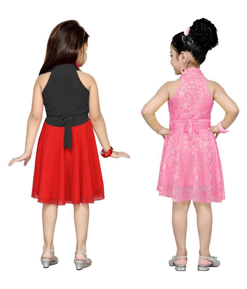 5750a1092 Aarika Girl s Premium Net Birthday Special Dress (Pack of 2) - Buy ...
