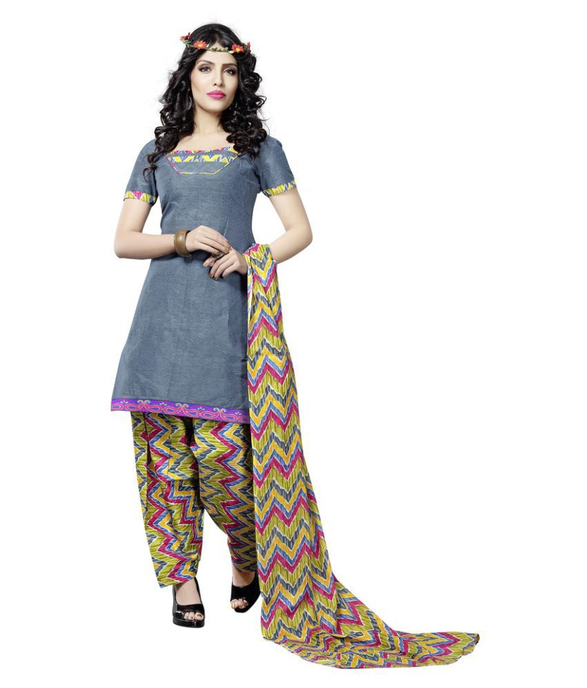 Minu Grey Cotton A-line Stitched Suit